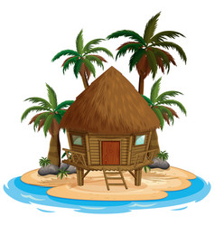 scene with wooden house on beach on white vector image