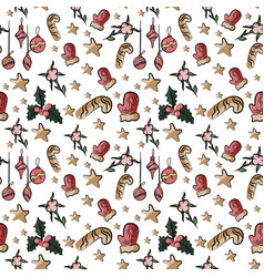 seamless cute background with santa in vector image