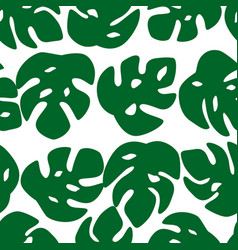 seamless leaves pattern monstera leave on white vector image