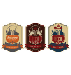 set beer labels with brewery production vector image