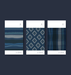 set fabric texture indigo nature tie dye vector image