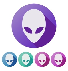 Set Flat icons of Alien head creature from another vector image