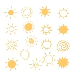 Set hand-drawn sun icons vector
