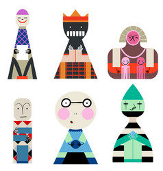 Set of dolls from shapes abstract human vector