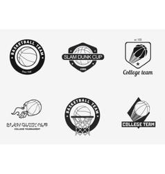 set vintage basketball championship logos and vector image