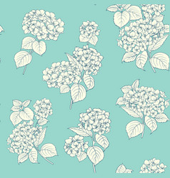Shabby chic style pattern with blooming hydrangea vector