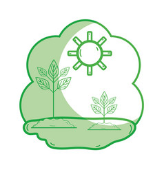 Silhouette plants with ground and sun weather vector