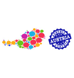 Social network map of austria with speech clouds vector
