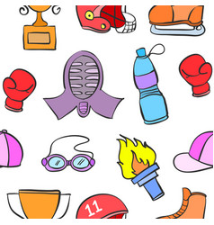 Stock of sport equipment doodle art vector