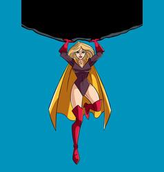 Superheroine holding boulder vector