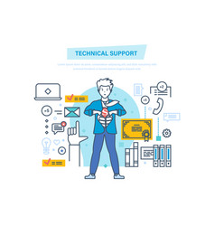 Technical support call center consultation vector