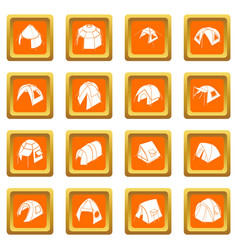 tent forms icons set orange square vector image