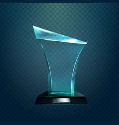 Transparent glassware trophy or prize vector
