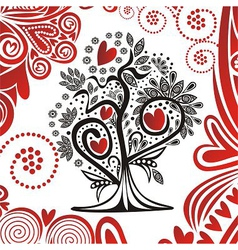 Valentines day card tree with hearts vector image