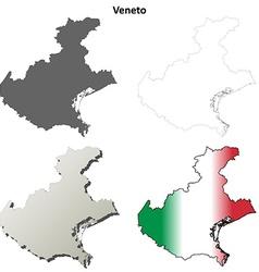 Veneto blank detailed outline map set vector