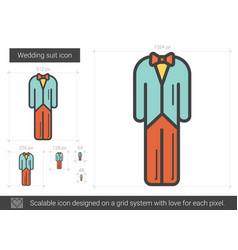 Wedding suit line icon vector