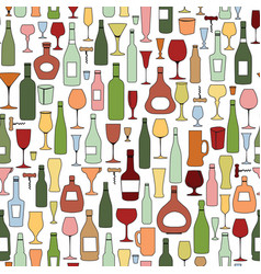 Wine bottle and wine glass seamless pattern drink vector