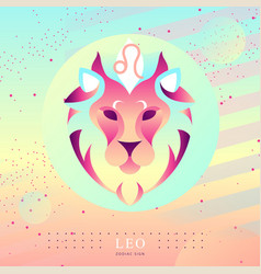 witchcraft card with astrology leo zodiac sign vector image
