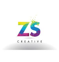 Zs z s colorful letter origami triangles design vector