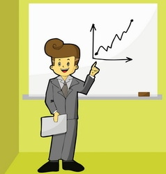 Businessman point to growth graph vector image vector image