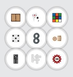 Flat icon entertainment set of bones game ace vector
