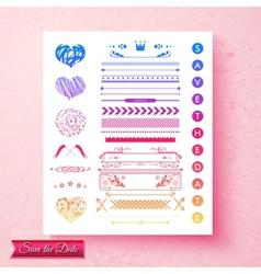 Pretty decorative wedding invitation elements vector image