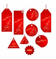 red Christmas label big set vector image vector image