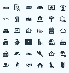 set of simple property icons vector image vector image
