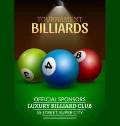 Billiard challenge poster 3d realistic balls on vector image vector image