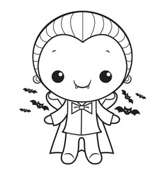 black and white cute dracula mascot halloween day vector image
