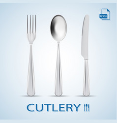 cutlery set of fork spoon and knife isolated on a vector image vector image