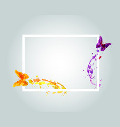 frame with watercolor butterflies vector image