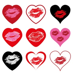 hearts with kiss symbols vector image vector image
