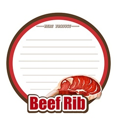 Line paper design with beef rib vector image vector image