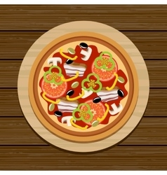 Pizza on a wooden table vector image vector image