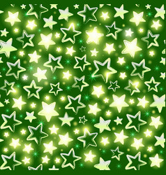 seamless pattern with shining stars on green vector image vector image