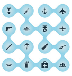 set of simple military icons vector image vector image