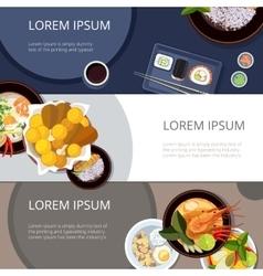 Asia food banners set Thai food japanese vector image