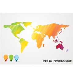 colorful paper cut world map water color abstract vector image