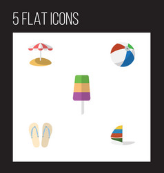 Flat hot set of surfing sundae parasol and other vector