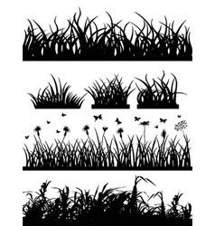 Grass silhouette set vector