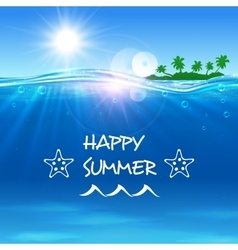 Happy Summer poster Ocean waves with island vector image vector image