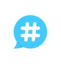 hashtag on blue speech bubble vector image