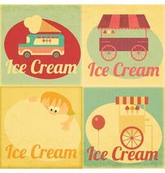 Ice Cream Retro Labels vector image vector image