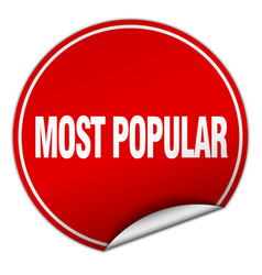 most popular round red sticker isolated on white vector image