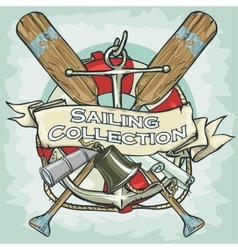 Nautical label with sample text sailing vector