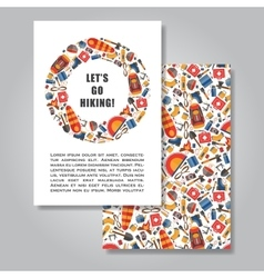Two sides invitation card design with hiking and vector image vector image