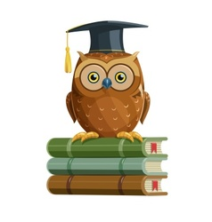 Clever owl sitting on books vector image