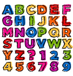Colorful Doodle Alphabet and Numbers vector image