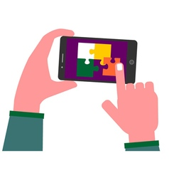Solving puzzle pieces on a smart phone vector image vector image